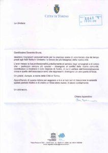La Sindaca di Torino ringrazia il dottor Bruna